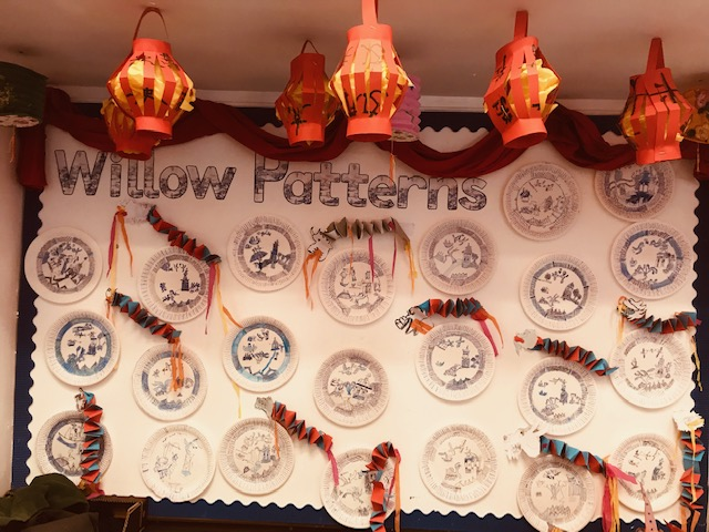 Y2 Willow Pattern plates & lanterns